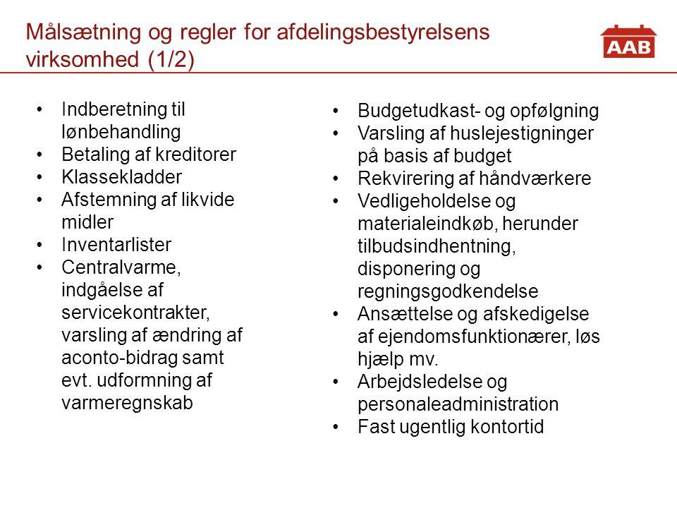 Målsætning og regler for afdelingsbestyrelsens virksomhed (1/2)
