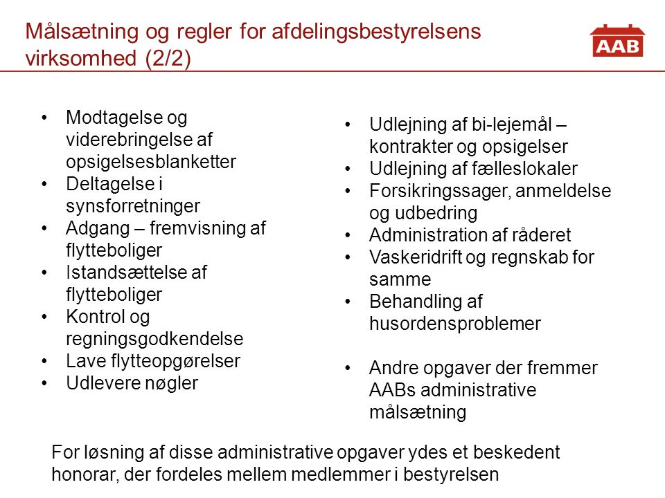 Målsætning og regler for afdelingsbestyrelsens virksomhed (2/2)