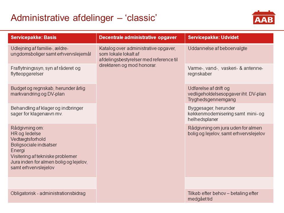 Administrative afdelinger – 'classic'