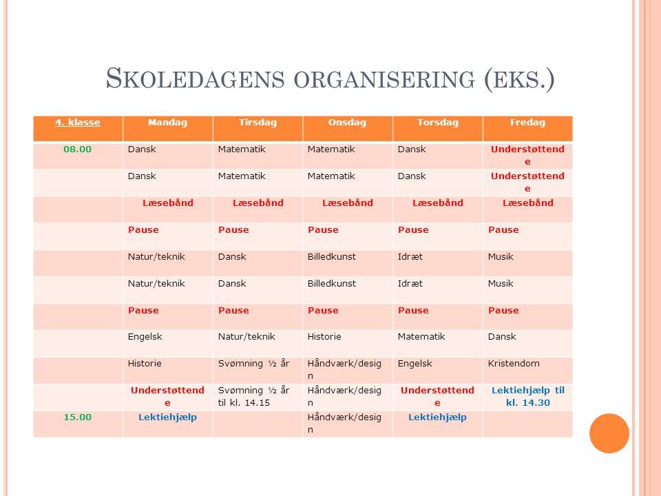 Skoledagens organisering (eks.)