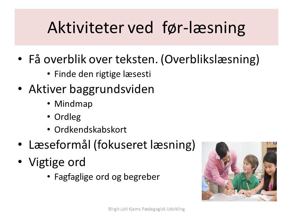 Aktiviteter ved før-læsning