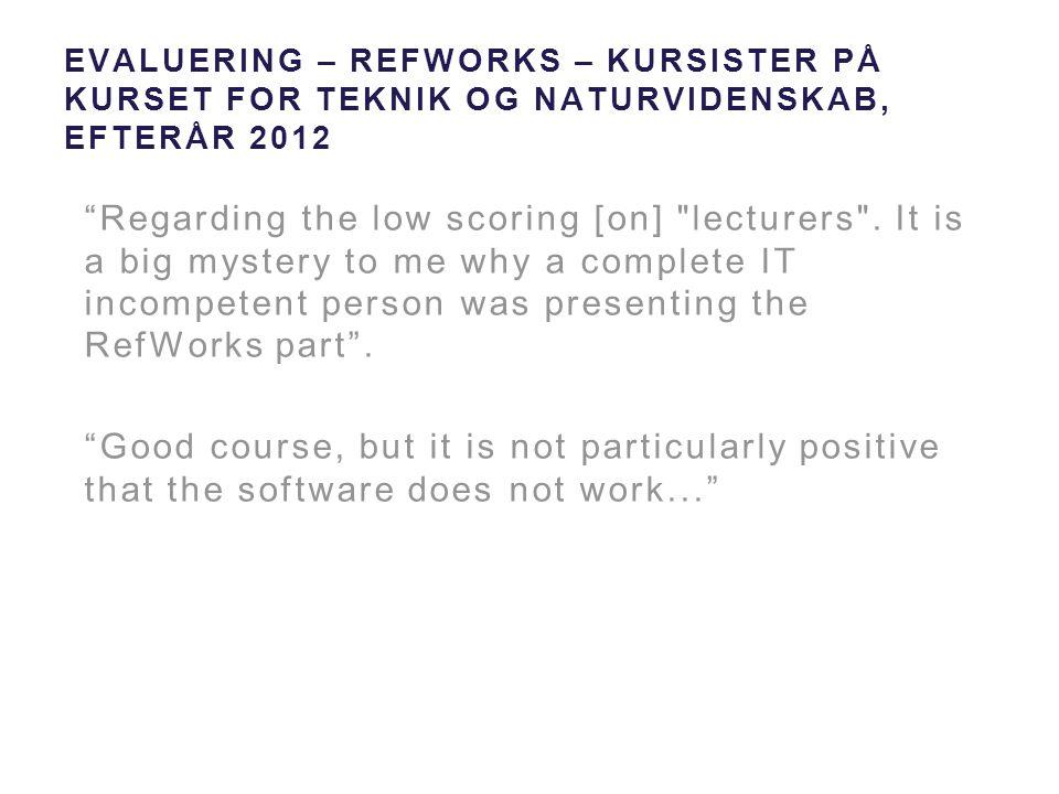 Evaluering – RefWorks – kursister på kurset for Teknik og Naturvidenskab, efterår 2012