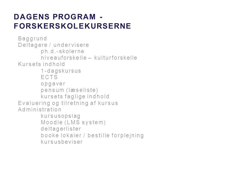 Dagens Program - forskerskolekurserne