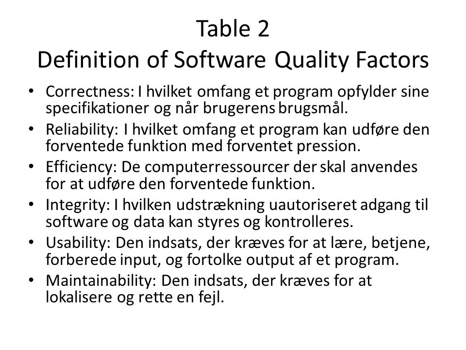 Table 2 Definition of Software Quality Factors