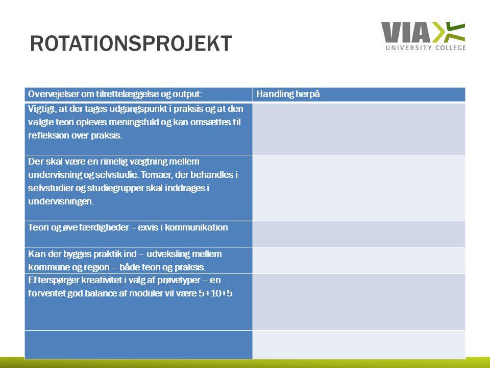 rotationsprojekt Overvejelser om tilrettelæggelse og output: