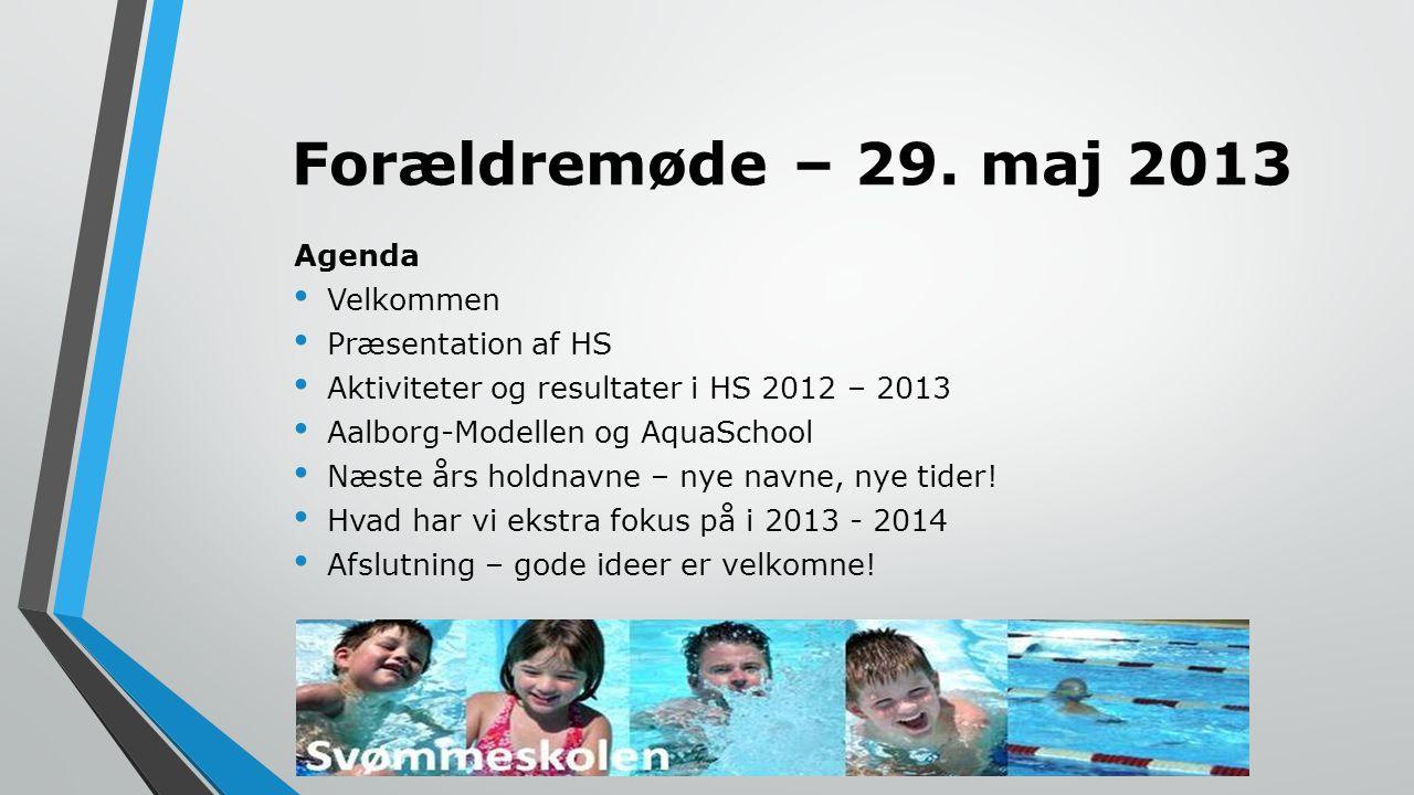 Forældremøde – 29. maj 2013 Agenda Velkommen Præsentation af HS