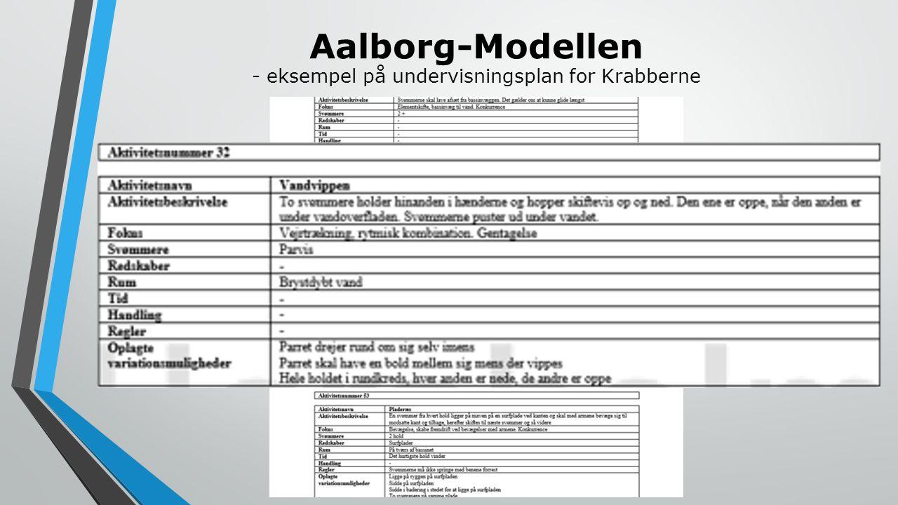 Aalborg-Modellen - eksempel på undervisningsplan for Krabberne