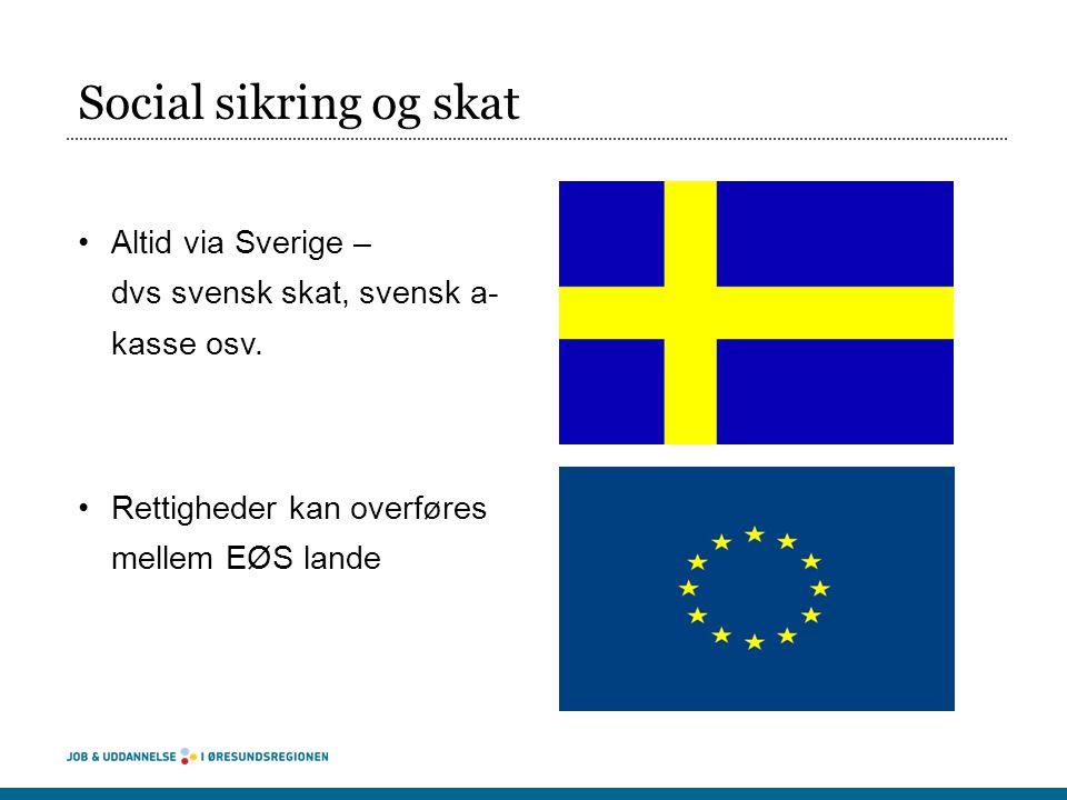 Social sikring og skat Altid via Sverige – dvs svensk skat, svensk a- kasse osv.