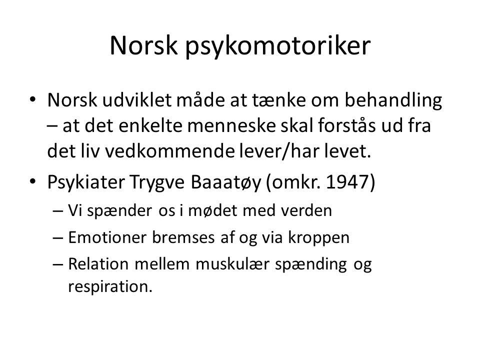 Norsk psykomotoriker Norsk udviklet måde at tænke om behandling – at det enkelte menneske skal forstås ud fra det liv vedkommende lever/har levet.