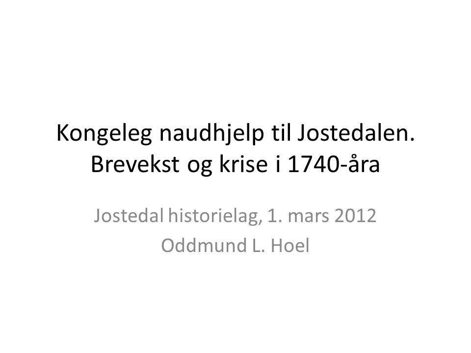 Kongeleg naudhjelp til Jostedalen. Brevekst og krise i 1740-åra