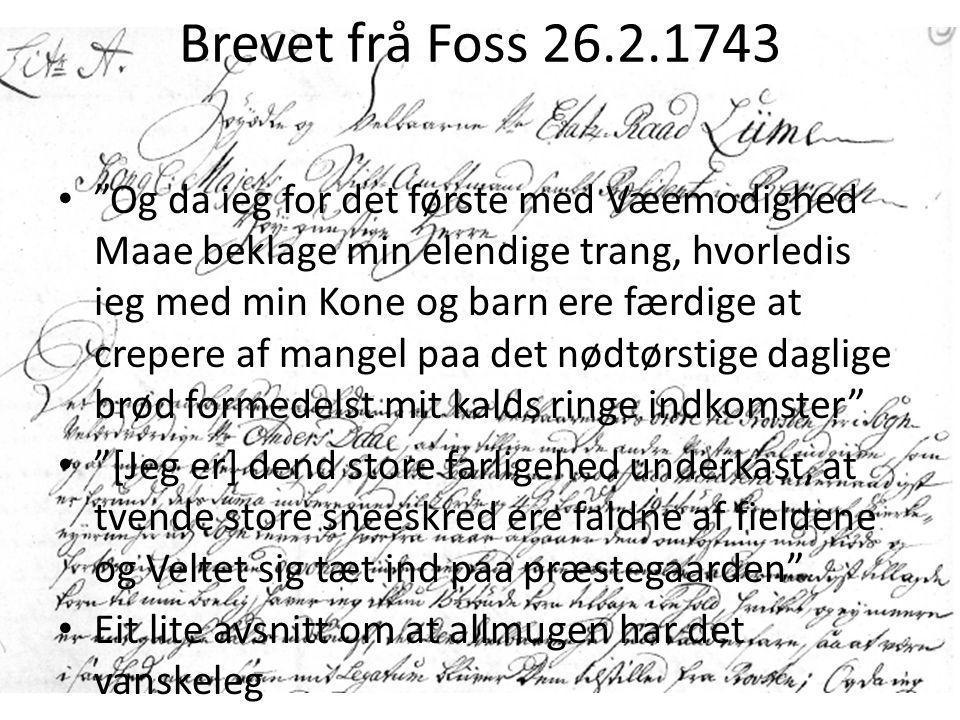 Brevet frå Foss 26.2.1743