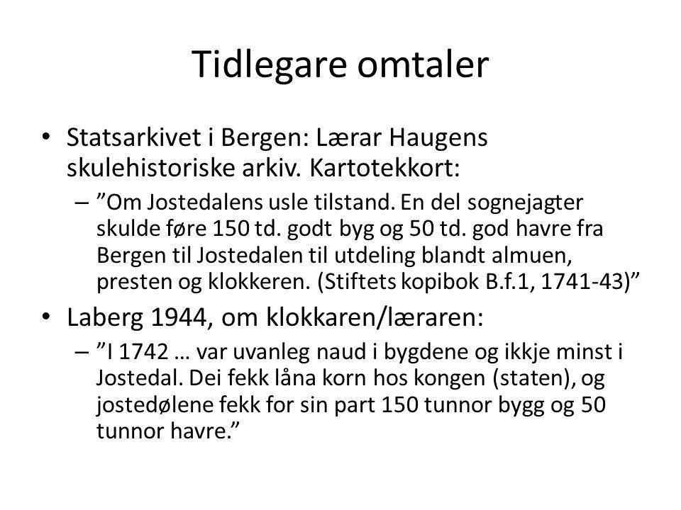 Tidlegare omtaler Statsarkivet i Bergen: Lærar Haugens skulehistoriske arkiv. Kartotekkort: