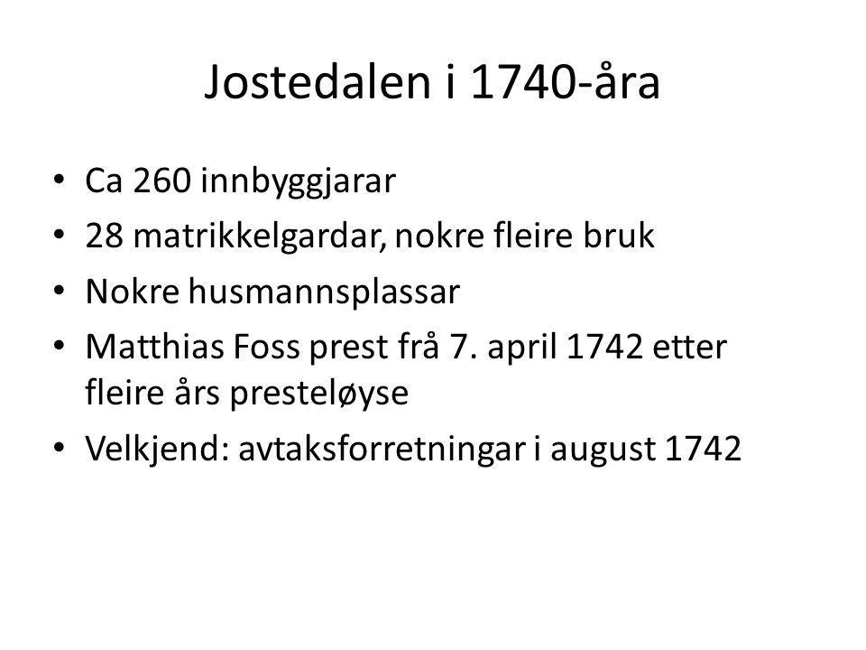 Jostedalen i 1740-åra Ca 260 innbyggjarar