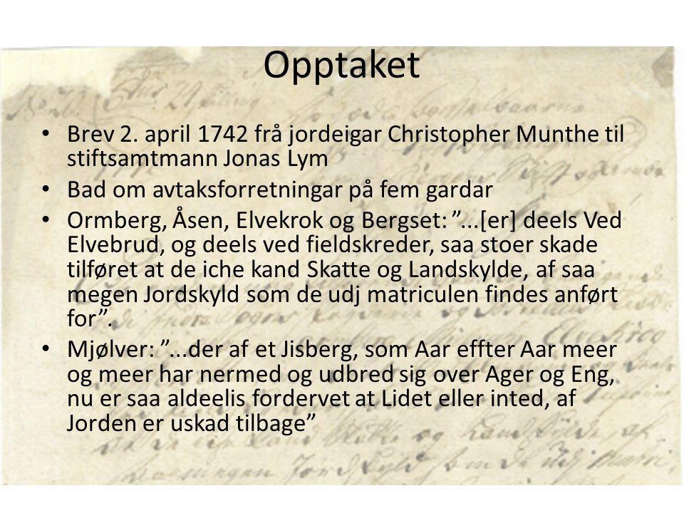 Opptaket Brev 2. april 1742 frå jordeigar Christopher Munthe til stiftsamtmann Jonas Lym. Bad om avtaksforretningar på fem gardar.