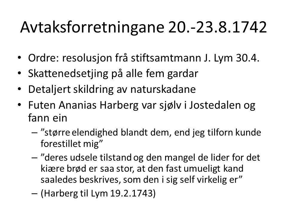 Avtaksforretningane 20.-23.8.1742