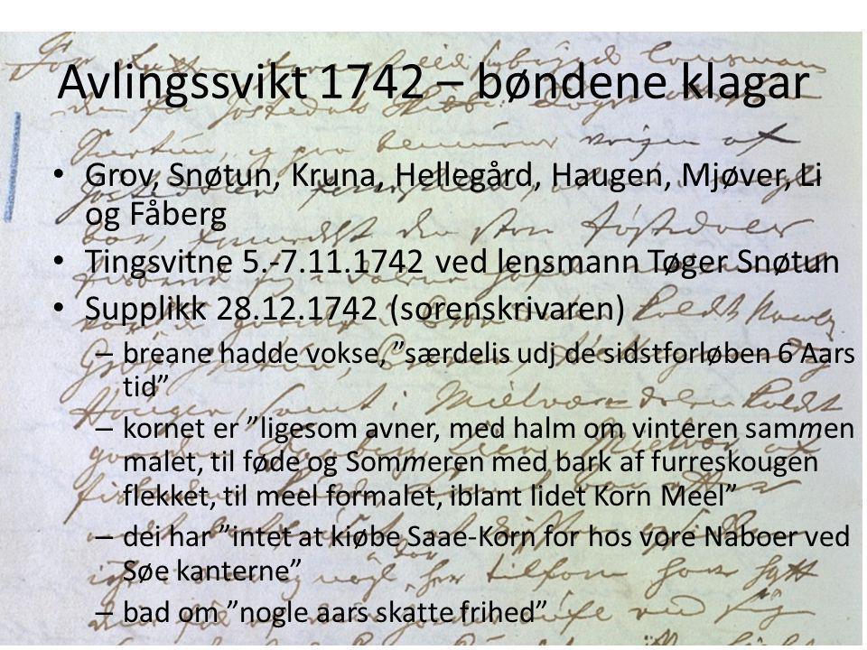 Avlingssvikt 1742 – bøndene klagar