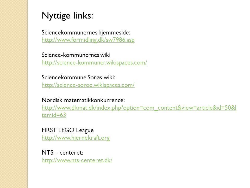 Nyttige links: Sciencekommunernes hjemmeside: