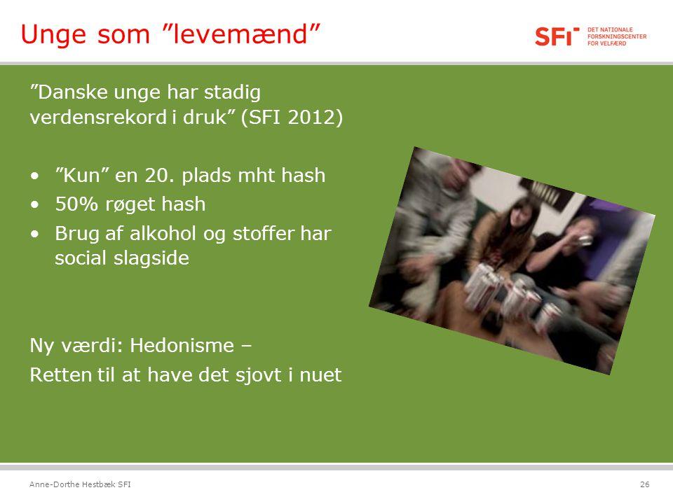 Unge som levemænd Danske unge har stadig verdensrekord i druk (SFI 2012) Kun en 20. plads mht hash.