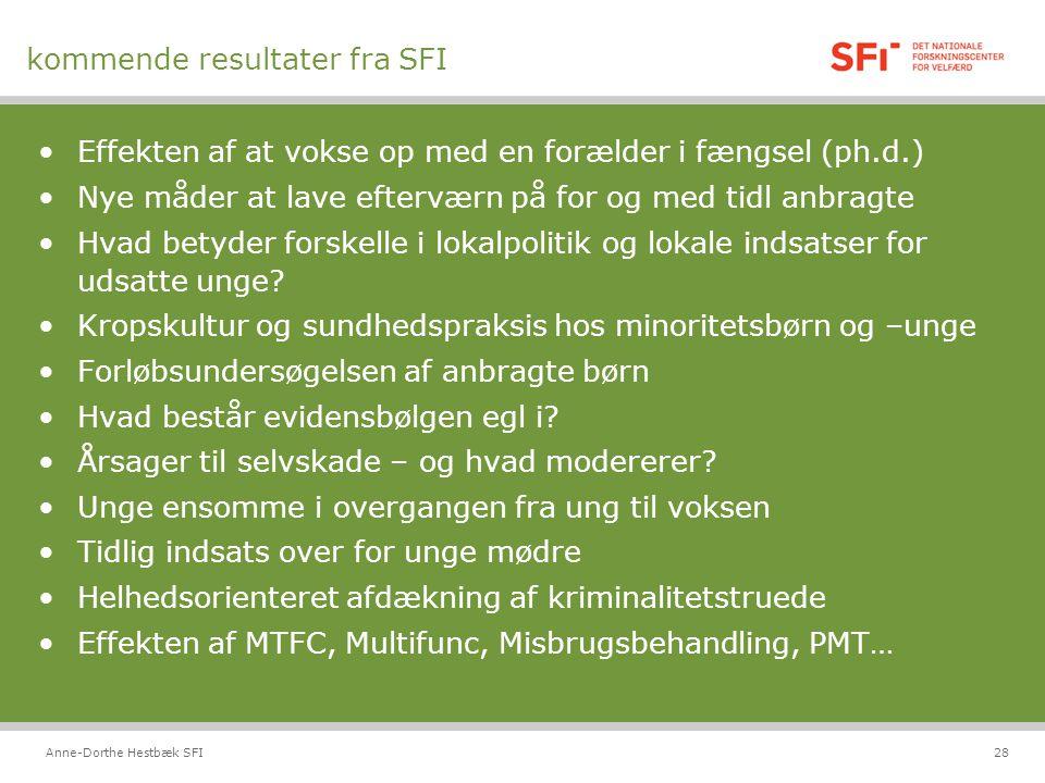 kommende resultater fra SFI