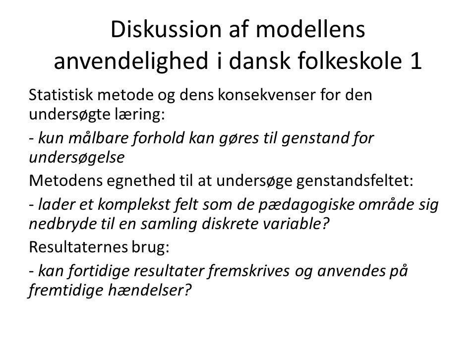 Diskussion af modellens anvendelighed i dansk folkeskole 1