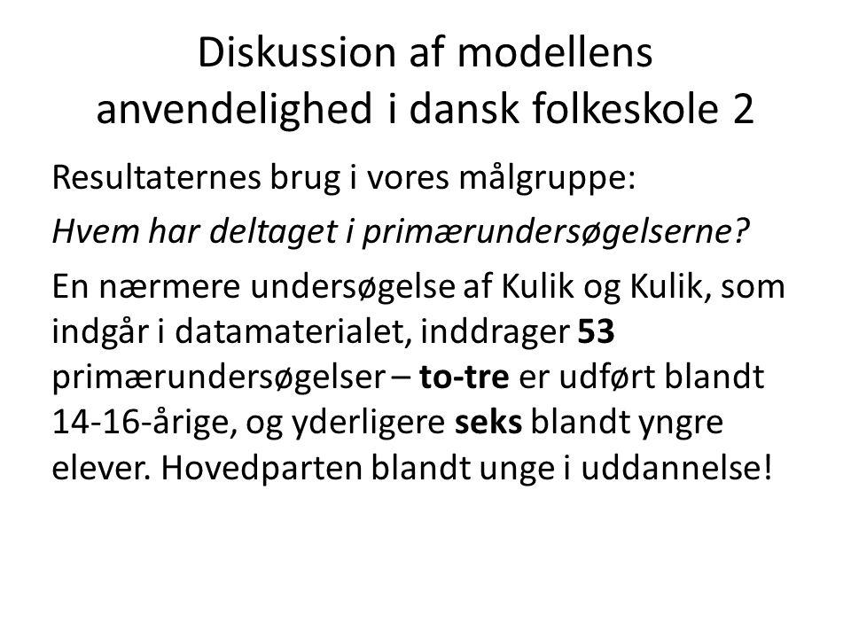 Diskussion af modellens anvendelighed i dansk folkeskole 2