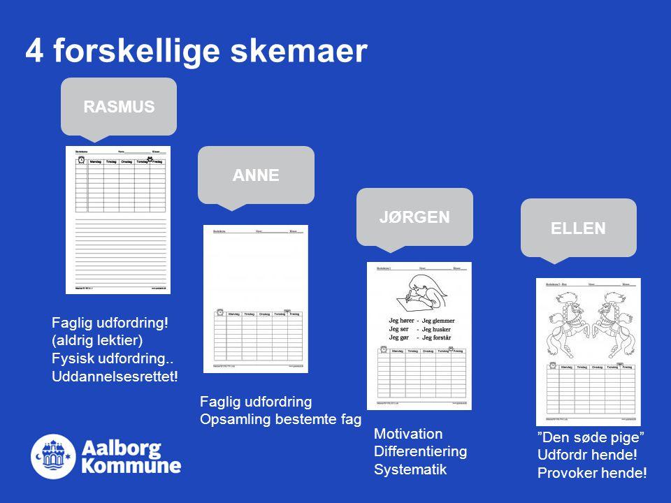 4 forskellige skemaer RASMUS ANNE JØRGEN ELLEN Faglig udfordring!