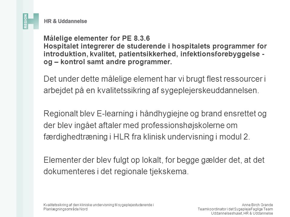 Målelige elementer for PE 8. 3