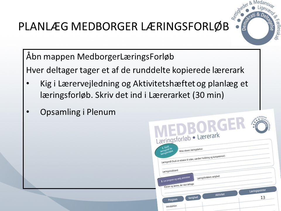PLANLÆG MEDBORGER LÆRINGSFORLØB