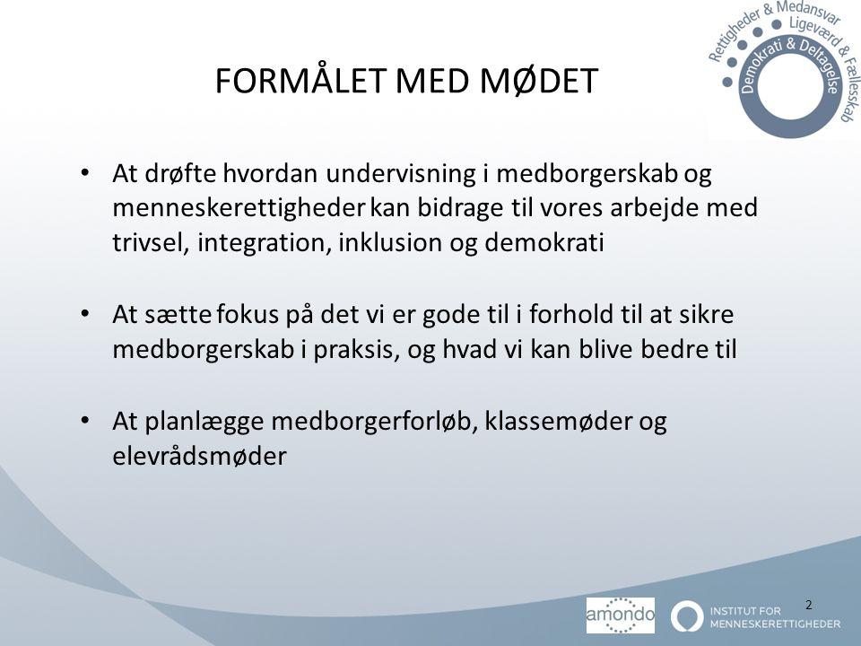 FORMÅLET MED MØDET