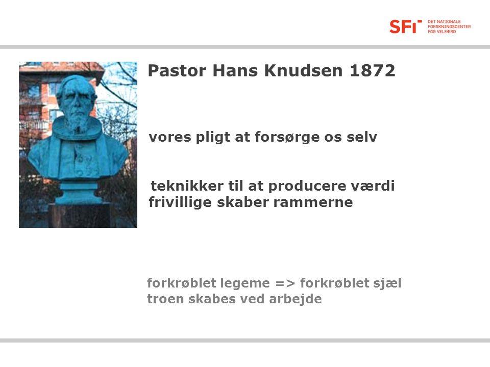Pastor Hans Knudsen 1872 vores pligt at forsørge os selv teknikker til at producere værdi frivillige skaber rammerne forkrøblet legeme => forkrøblet sjæl troen skabes ved arbejde