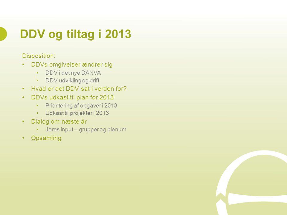 DDV og tiltag i 2013 Disposition: DDVs omgivelser ændrer sig