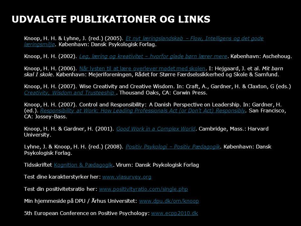 UDVALGTE PUBLIKATIONER OG LINKS