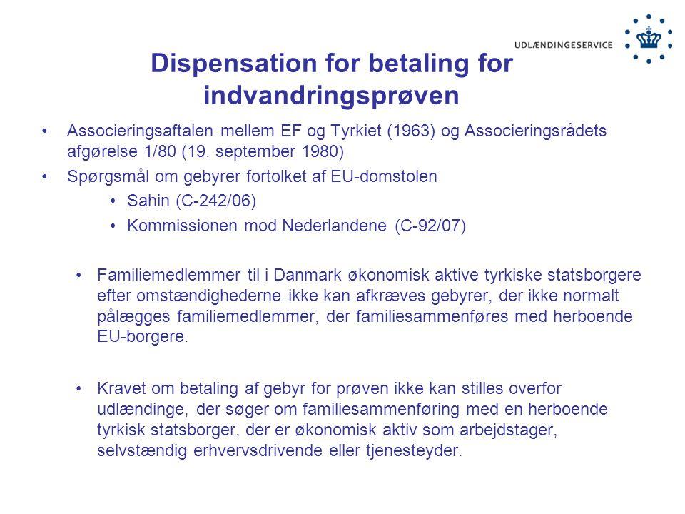 Dispensation for betaling for indvandringsprøven