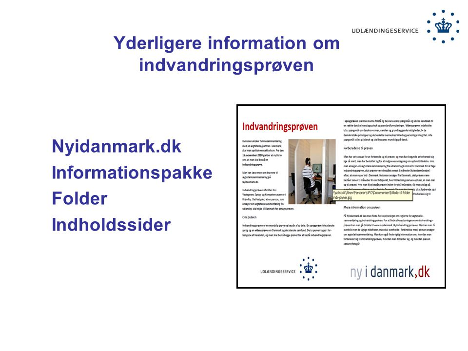 Yderligere information om indvandringsprøven