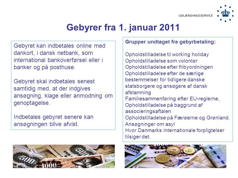 Gebyrer fra 1. januar 2011 Grupper undtaget fra gebyrbetaling: Opholdstilladelse til working holiday.