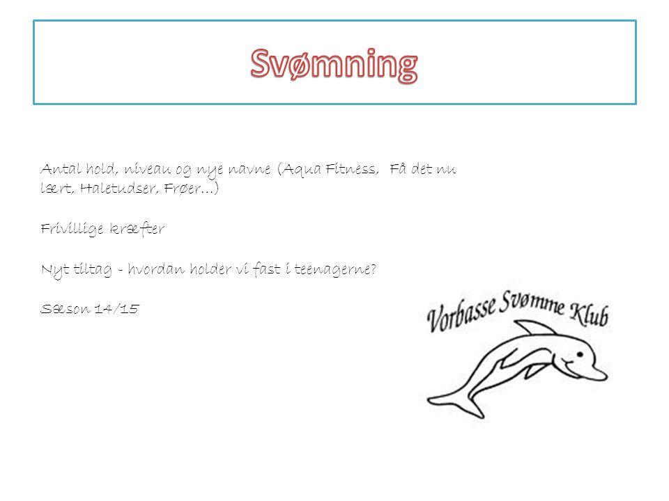 Svømning Antal hold, niveau og nye navne (Aqua Fitness, Få det nu lært, Haletudser, Frøer…) Frivillige kræfter.