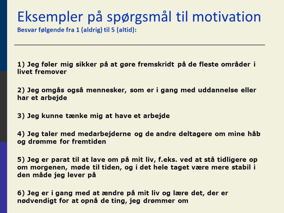 Eksempler på spørgsmål til motivation Besvar følgende fra 1 (aldrig) til 5 (altid):
