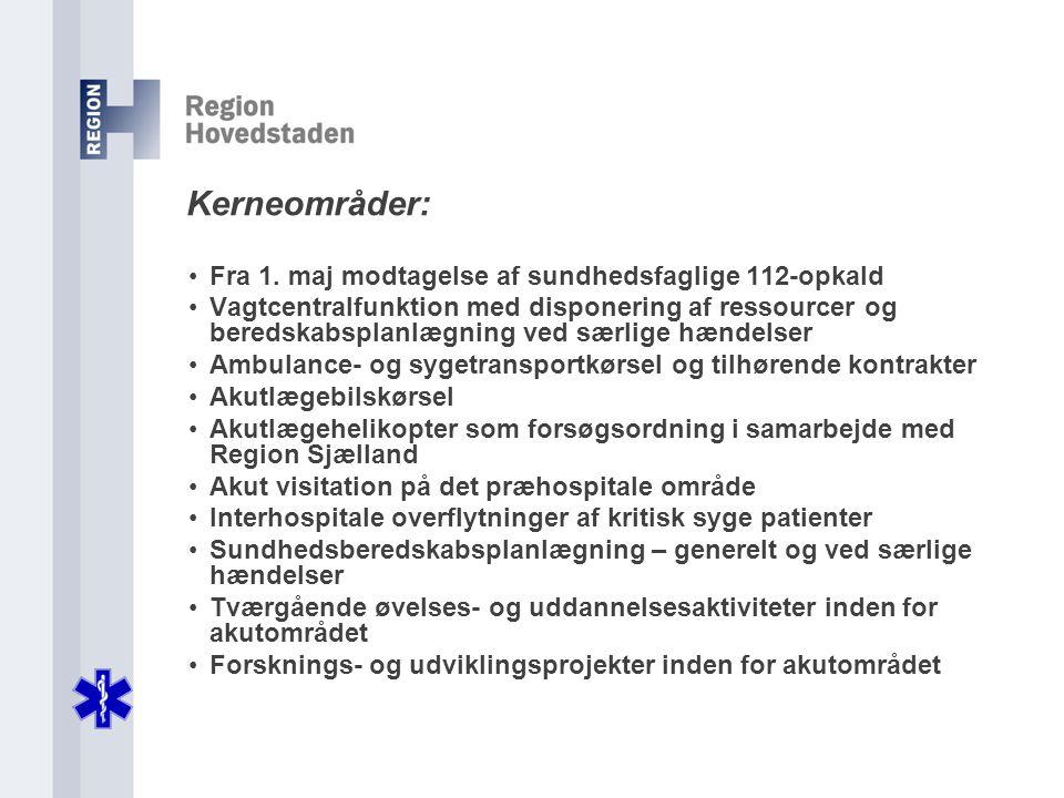 Kerneområder: Fra 1. maj modtagelse af sundhedsfaglige 112-opkald