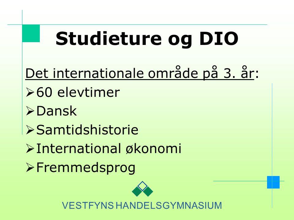 Studieture og DIO Det internationale område på 3. år: 60 elevtimer