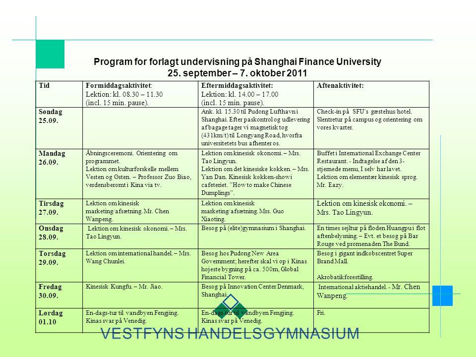 Program for forlagt undervisning på Shanghai Finance University