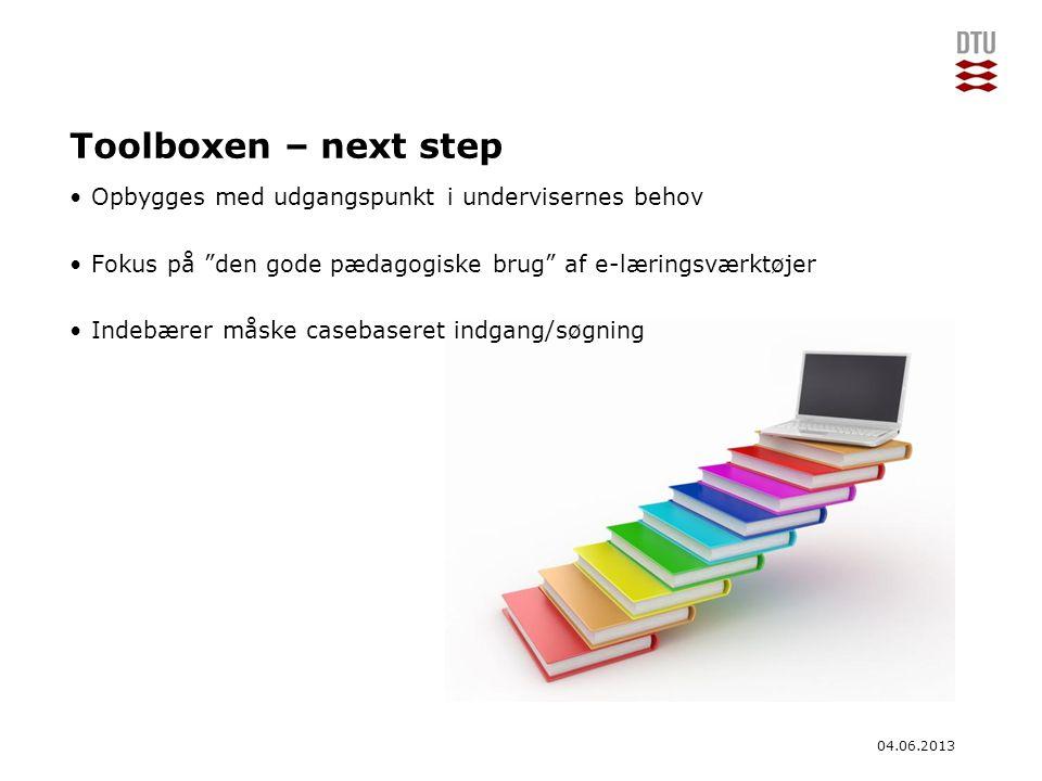 Toolboxen – next step Opbygges med udgangspunkt i undervisernes behov