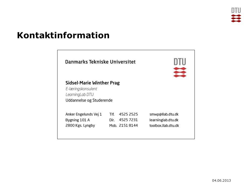 Kontaktinformation 04.06.2013