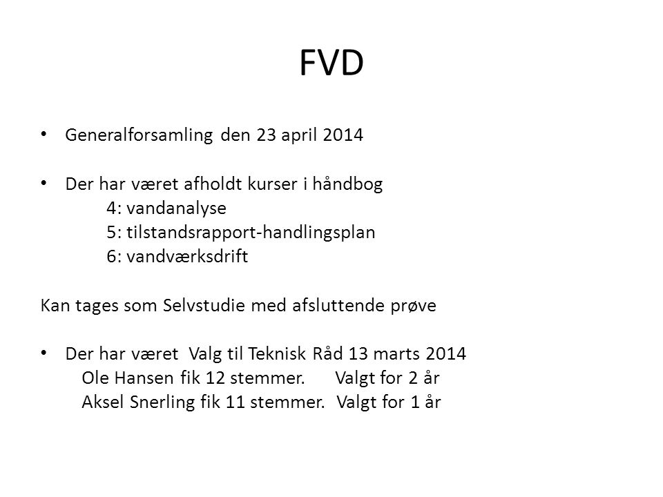 FVD Generalforsamling den 23 april 2014