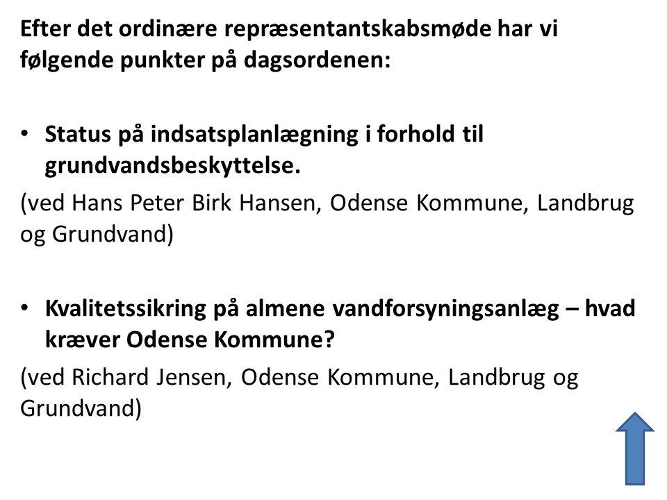 Efter det ordinære repræsentantskabsmøde har vi følgende punkter på dagsordenen: