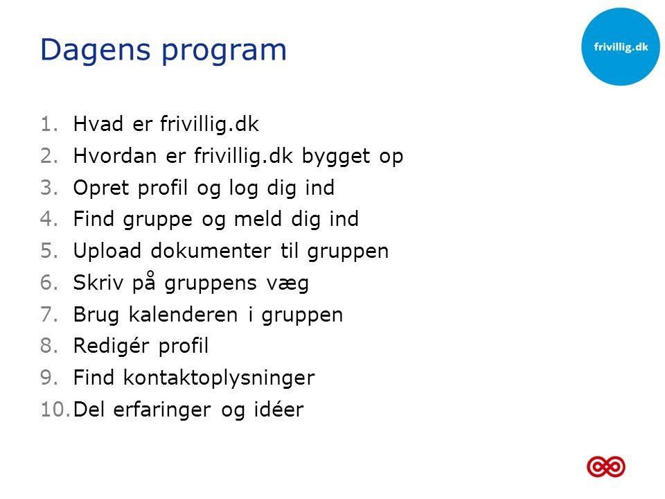 Dagens program Hvad er frivillig.dk Hvordan er frivillig.dk bygget op