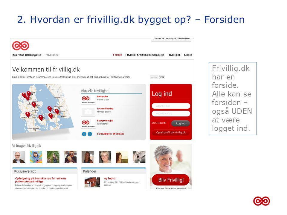 2. Hvordan er frivillig.dk bygget op – Forsiden
