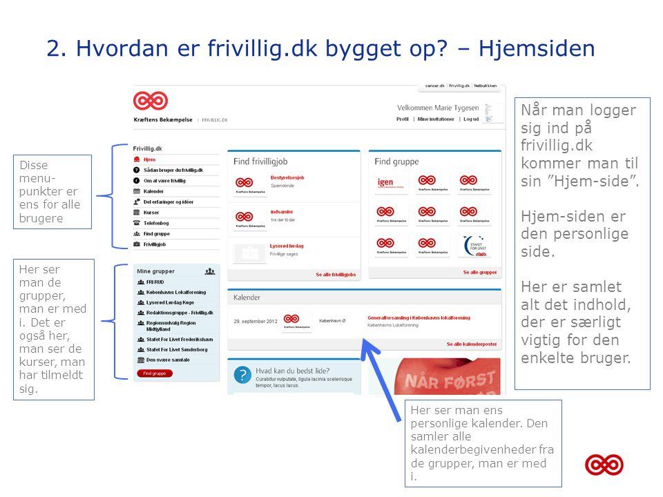 2. Hvordan er frivillig.dk bygget op – Hjemsiden