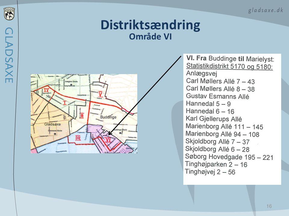 Distriktsændring Område VI