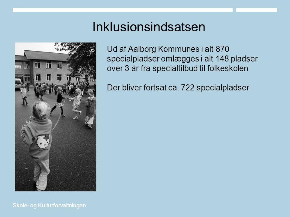 Inklusionsindsatsen Ud af Aalborg Kommunes i alt 870 specialpladser omlægges i alt 148 pladser over 3 år fra specialtilbud til folkeskolen.