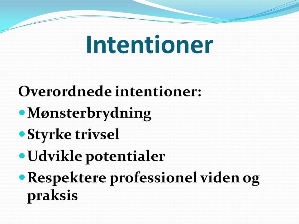 Intentioner Overordnede intentioner: Mønsterbrydning Styrke trivsel